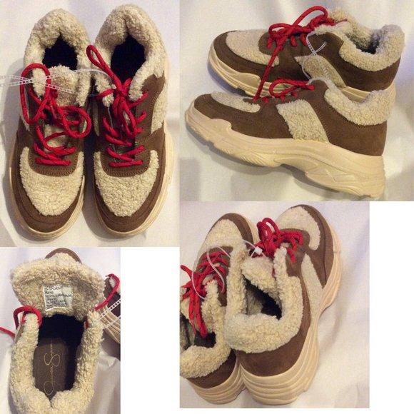 Sneakers Jessica Simpson Sherpa Faux Fur Size 9M